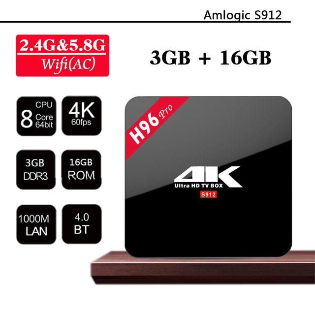 H96Pro Caixa de TV Android OctaCore AmlogicS912 CPU 3G RAM 16G ROM Android 6.0 Gigabit LAN Bluetooth Dual Band WIFI 3D/4 K Smart TV H9