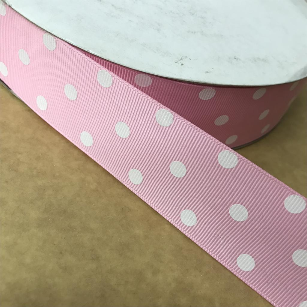 Сумасшедший скидка 1-1/2 «38 мм жемчуг розовый 3 горошек печатных Grosgrain ленты для DIY волос Луки детские/Детские ремесел 100 ярдов