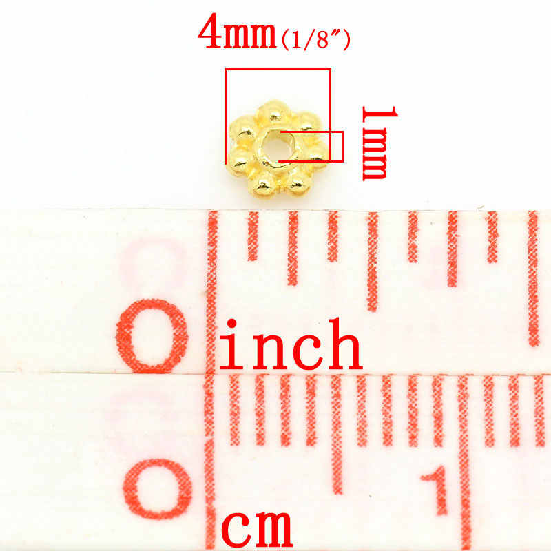 "DoreenBeads 亜鉛金属合金スペーサゴールドカラー約 4.0 ミリメートル (1/8 "") 径、穴: 約 1.0 ミリメートル、 95 ピース"