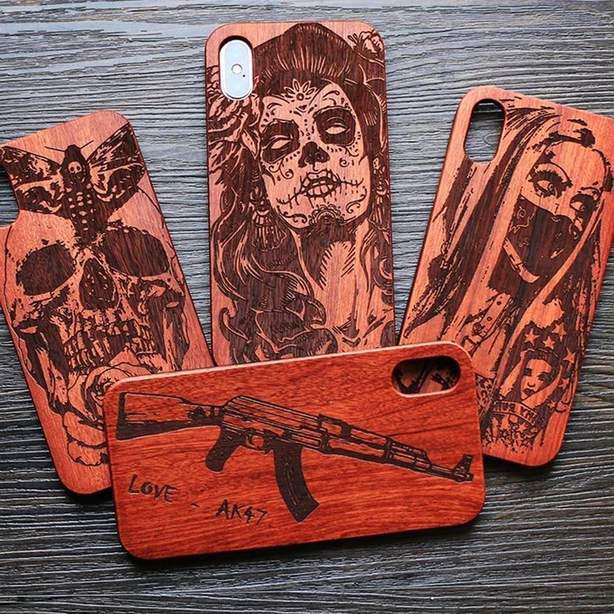 Coque de téléphone originale en bois de bambou, compatible avec Iphone 7, 8, X, XS Max, 8Plus, 5, 5s, SE, 6S Plus, dessin animé tête de mort
