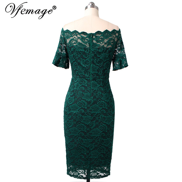 Vfemage Women Elegant Flare Trumpet Bell Sleeve Lace Vintage Pinup Casual Work Office Party Bodycon Sheath Dress 9307 3
