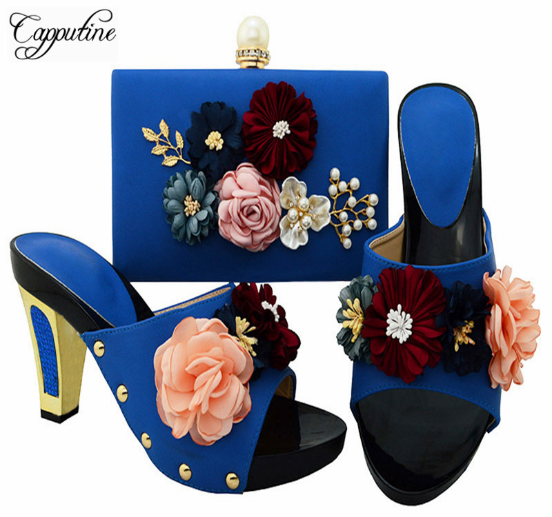 Capputine African Elegant Blue Shoes And Matching Bags Set For Party Italian Style High Heels Ladies Shoes And Bag Sets BL0014 free shipping newest shoes matching bags royal blue italian designer shoes and bags ct16 06