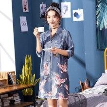 Серый шелковистый женский v-образный вырез женское платье рубашка Пижама для сна банный халат Женская домашняя одежда банный халат ночная рубашка пижамы s m l