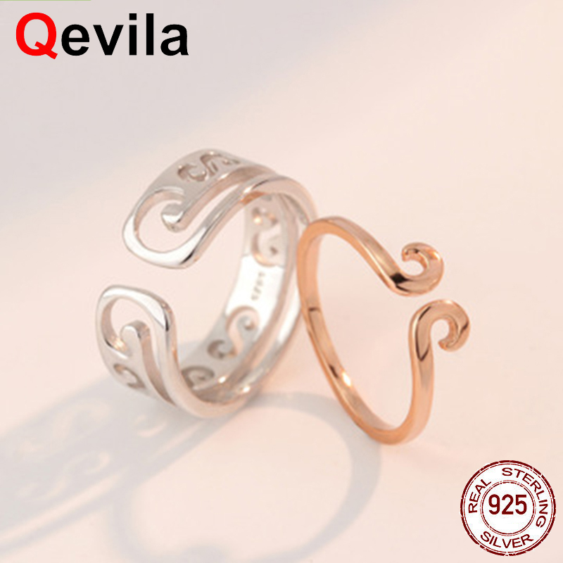 Engagement Rings Qevila 2019 Fashion 925 Sterling Silver Monkey King Opening Rings 2pcs/set Adjustable Ring For Women Couples Lovers Gift Jewelry Jewelry & Accessories