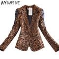 Mulheres estilo Europa primavera outono leopard ternos blazers e jaquetas 2017 novo manga longa blazer cardigan plus size XXXL S2434