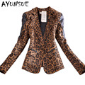 Women Europe style spring autumn leopard blazers and jackets 2016 new long sleeve blazer suits cardigan plus size XXXL S2434