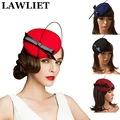 Ladies Wool Felt Round Fascinator Hats for Women Pillbox Hat Formal Race Cocktail Fesitval Wedding Party Fancy Hair Accessories