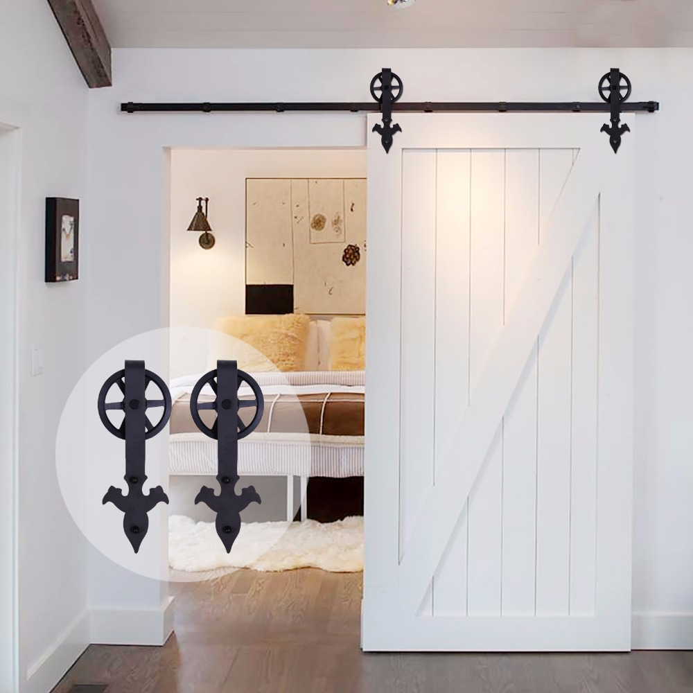 LWZH Rustic Wood Door Closet Hardware Kit Sliding Barn Door Black Arrow Flower Shaped With Big Rollers For Sliding Single Door