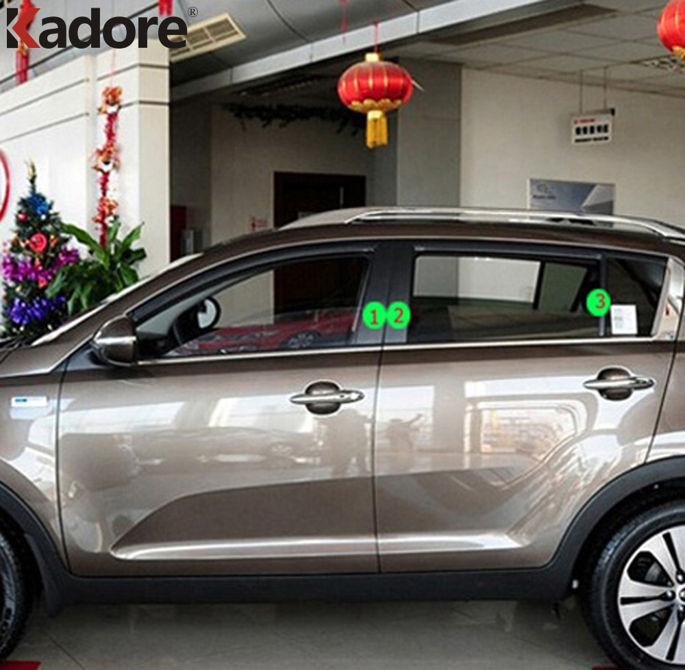 For Kia Sportage R 2011 2012 2013 2014 Car Pillar B+C Trim Cover Window Decoration Strip Stainless Steel Auto Accessories 6pcs