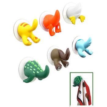Cute Cartoon Animal Tail Strong Sucker Suction Hook Baby Bathroom Key Towel Hanger Holder Hooks Home Kitchen Accessories A55