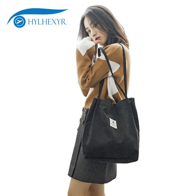 Hylhexyr Woman Corduroy Shoulder Bag Reusable Shopping Bags Casual Tote Female Handbag For A Certain Number
