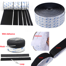 1Meter/lot Strong Self adhesive Fastener Tape nylon Hooks and Loops sticker velcros with Glue for DIY 20/25/30/38/50mm