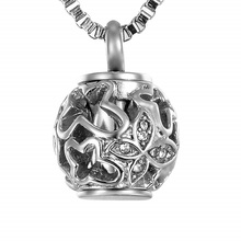 Valyria Cremation Jewelry Urn Pendant Necklace with Hollow Butterfly Beads Engraved Always in My Heart