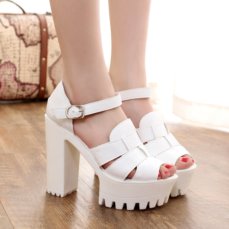 2018 Women Sandals Open Toe Button Belt Super Heel Heels Platform Wedges Summer Shoes Casual Platform Sandals Sandalias Mujer e toy word summer platform wedges women sandals antiskid high heels shoes string beads open toe female slippers
