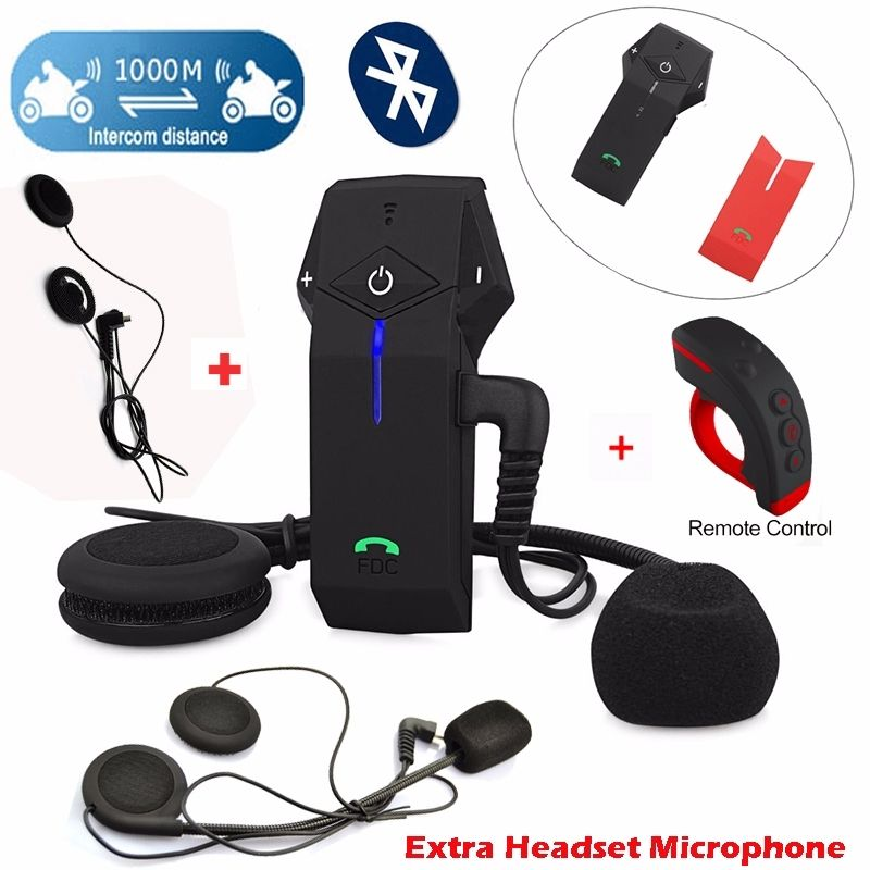 Free Shipping FDC COLO RC Motorbike Bluetooth 1000m Intercom Headset Extra Soft Hard Earpiece