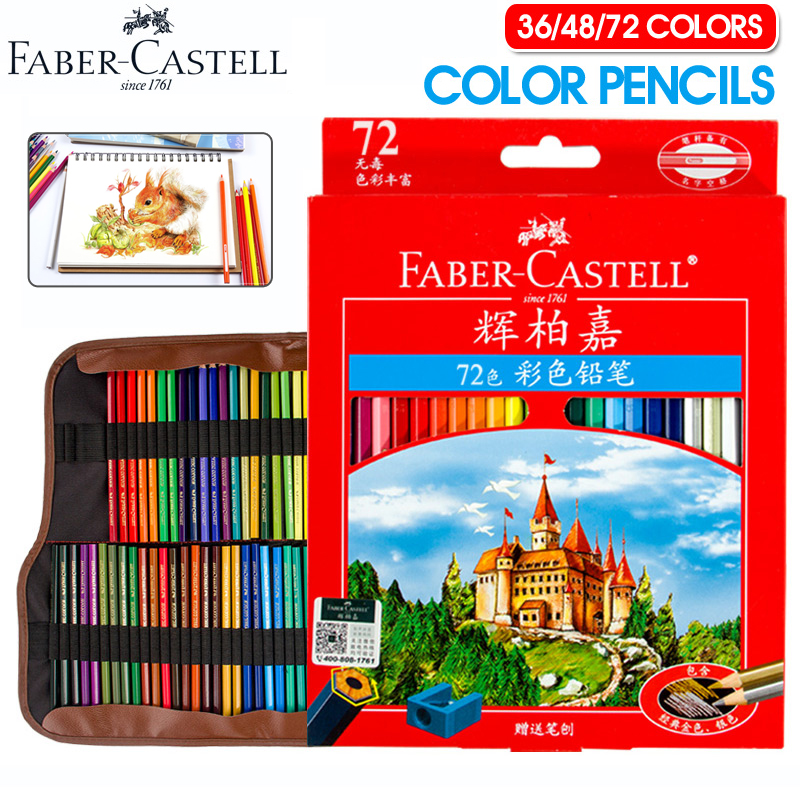 Faber-Castell 36/48/72 Colors Oily Pencils Professional Colored Pencil Set For Art School Student Stationery Sketch Supplies