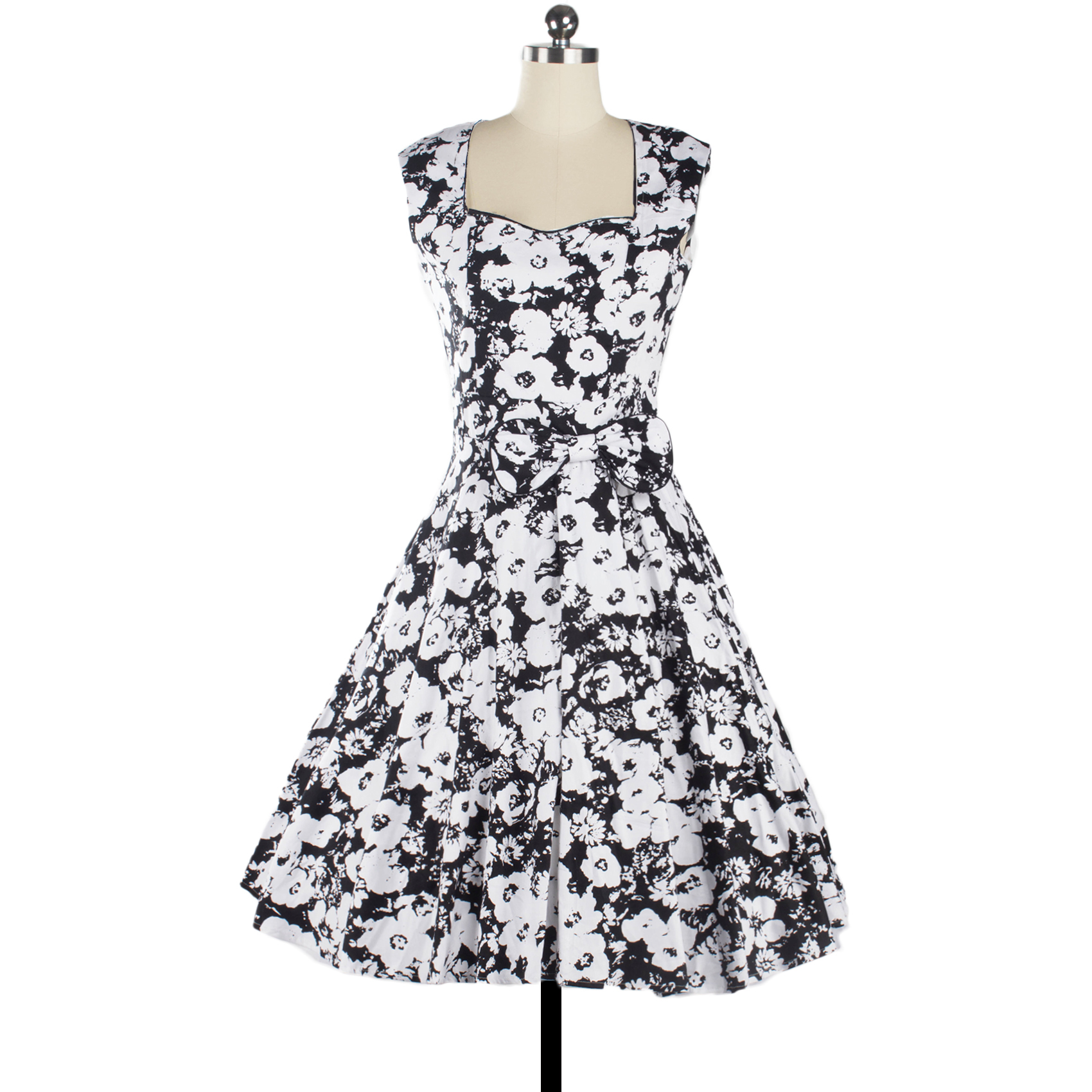 2017 Black And White Floral Elegant Dress Women 50s 60s Swing Retro