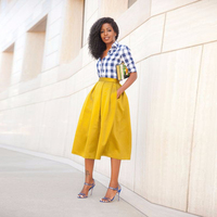 Black Girl Yellow Skirt 2017 Trendy Mid Calf Pleated Women Skirt Formal Party Skirt Cheap Free Shipping 5XL Plus Size
