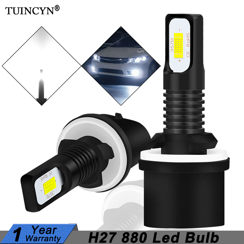 TUINCYN 2Pcs H27 Led 880 Led Bulb H27W1 2400LM 6500K White Car Fog Light Front Head Driving Running Lamp Auto 12V H27W/1 H27W