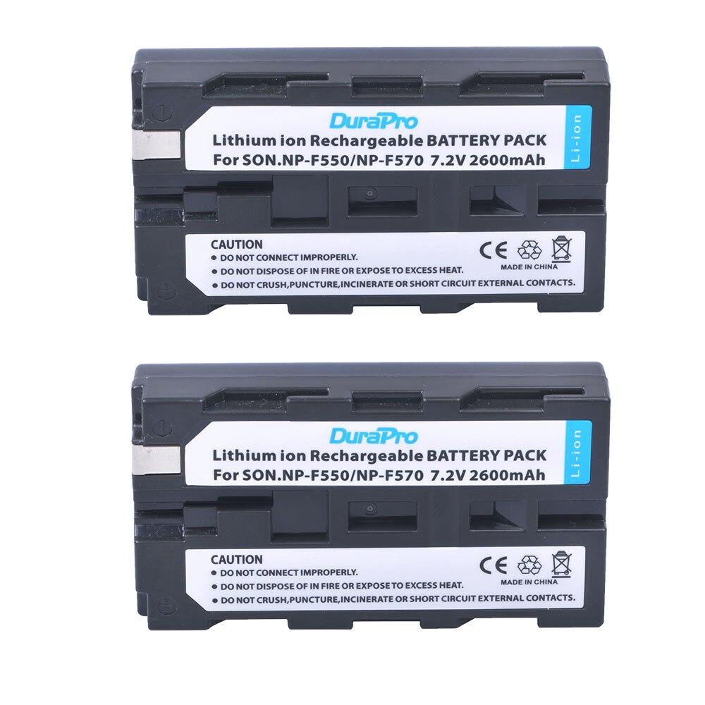 DuraPro 2pc NP-F550 NP-F570 7.2V 2600mAH Li-ion battery for Sony np f550 f570 CCD-SC55 CCD-TRV81 DCR-TRV210 MVC-FD81 Camera durapro 4pcs np f970 np f960 npf960 npf970 battery lcd fast dual charger for sony hvr hd1000 v1j ccd trv26e dcr tr8000 plm a55