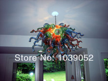 High Ceiling Multi Color Modern K9 Crystal Hand Blown Glass Chandelier