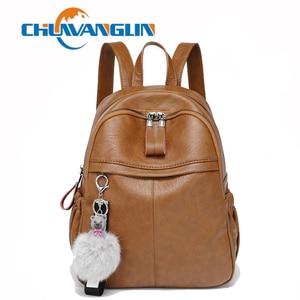 Image 1 - Chuwanglinファッション本革mochila feminina学校のバックパックシンプルなバックパック旅行バッグB5180