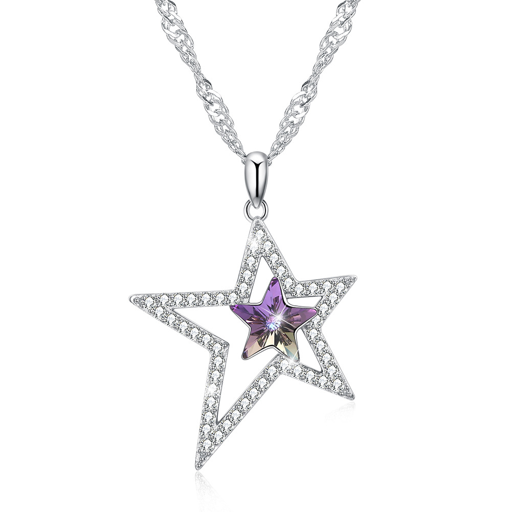 925 sterling silver use Austria crystal necklace for women 925 stars sterling silver pendant ladies clavicle necklace ying vahine 925 sterling silver jewelry shiny stars pendant necklace