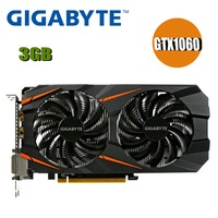 Used GIGABYTE Video Card GTX 1060 3GB Graphics Cards Map For nVIDIA Geforce GTX1060 OC GDDR5 192Bit Hdmi Videocard Cards 1050ti