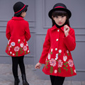 Baby Girls Coats Winter Embroidered Single Breasted Trench Children Cotton Tops Kids Outerwear Fashion Vestido Infantil Clothing