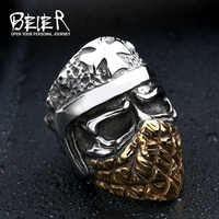 Beier new store 316L Stainless Steel ring new arrival  skull ring for men Mask Man  fashion Jewelry  BR8-355