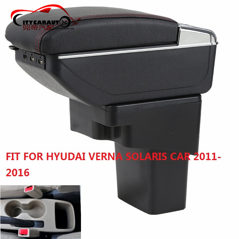 CITYCARAUTO BIGGEST SPACE+LUXURY+USB FOR SPARK Car armrest box central Storage content box LED USB FIT FOR HYUDAI VERNA SOLARIS