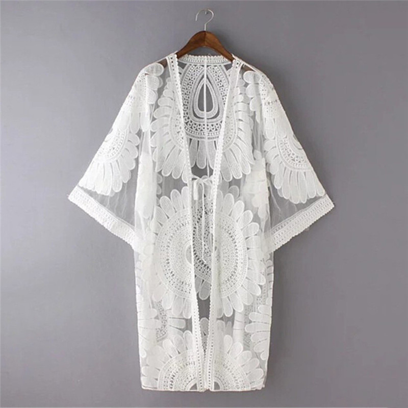 купить New Summer Swimsuit Lace Hollow Crochet Beach Bikini Cover Up 3/4 Sleeve Women Tops Swimwear Beach Dress White Beach Tunic Shirt по цене 624.22 рублей