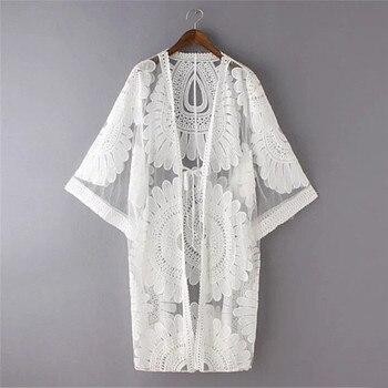 New Summer Swimsuit Lace Hollow Crochet Beach Bikini Cover Up 3/4 Sleeve Women Tops Swimwear Beach Dress White Beach Tunic Shirt