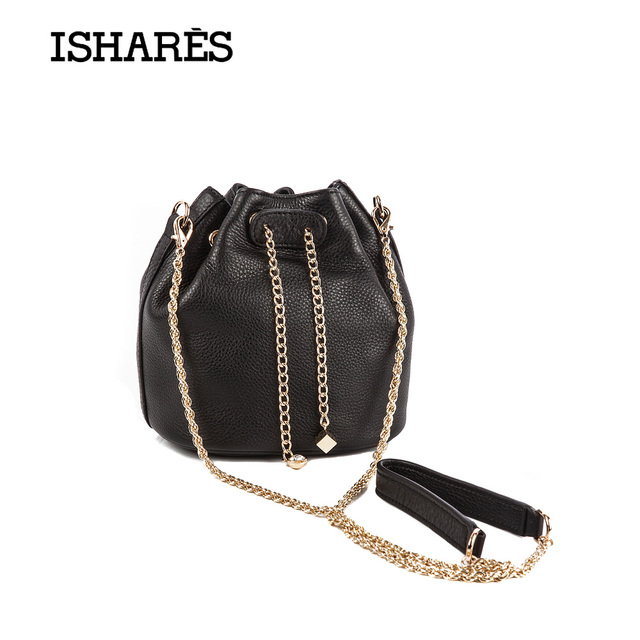 2017 ISHARES New women cute bucket chain handbags mini soft bag ladies superior cowhide calf leather fashion handbag IS7322