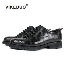 Vikeduo 2019 Handmade Fashion Luxury Shoes Black Genuine Leather Casual Mens Derby Style Formal Crocodile Dress Footwear