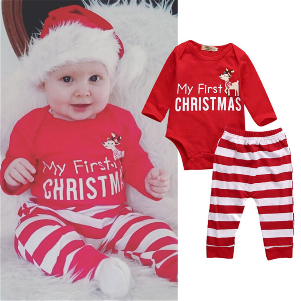 2pcs Set Cotton Christmas Baby Clothes Set Infant Red Long Sleeve Cloth Suit Pants Baby Climbing Clothes for 0-2 Years Kids