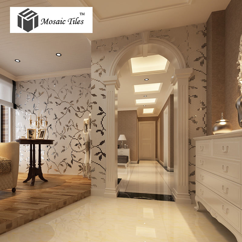Collages Silver Vine Leaves Pattern Beautiful Deco Art Mosaic Tiles