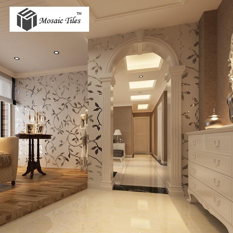 Collages Silver Vine Leaves Pattern Beautiful Deco Art <font><b>Mosaic</b></font> Tiles