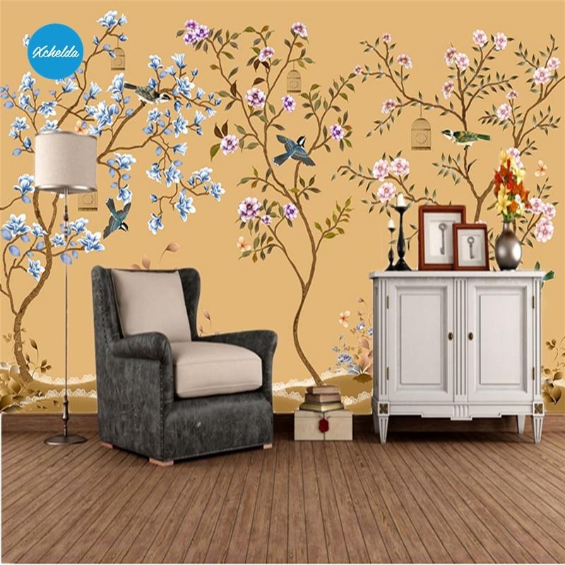 XCHELDA Custom 3D Wallpaper Design Blue Pink Plum Y Photo Kitchen ...