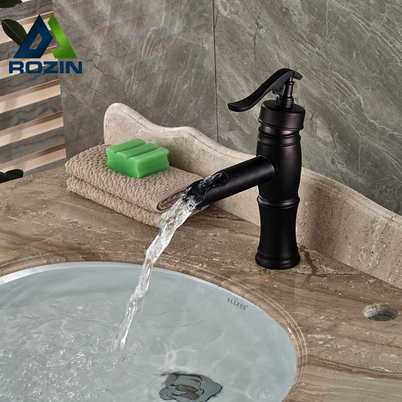 ФОТО Free Shipping Bathroom Mixer Faucet Deck Mounted Waterfall Basin Vessel Sink Faucet Oil Rubbed Bronze Finish