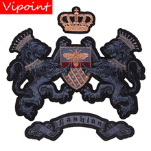 embroidery crown lion letters patches for jackets,letters badges jeans,applique coats A243