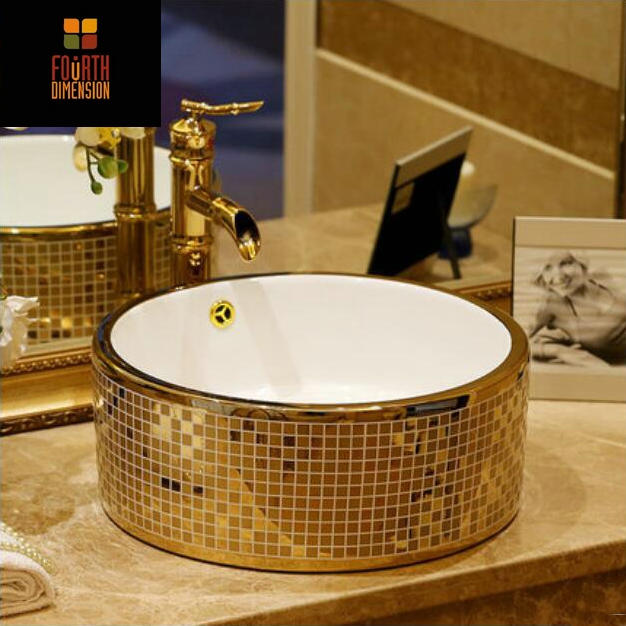Gold Mosaic Countertop Round Ceramic Bathroom Sink Art Basin With Overflow In Sinks From Home Improvement On Aliexpress Alibaba Group