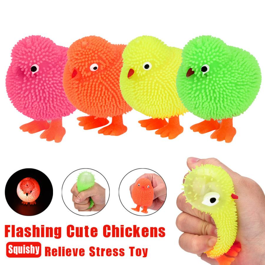 Squeeze 6CM Cute Novelty Flashing Puffer Cute Chickens Squidgy Sensory Toy Activity And Play Ball Wipes Anti-stress A1