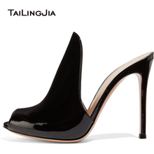 Peep Toe High Heel Mules Women Black Patent Leather Heeled Sandals Evening Dress Shoes Ladies Summer Party Heels Large Size 2018 цена 2017