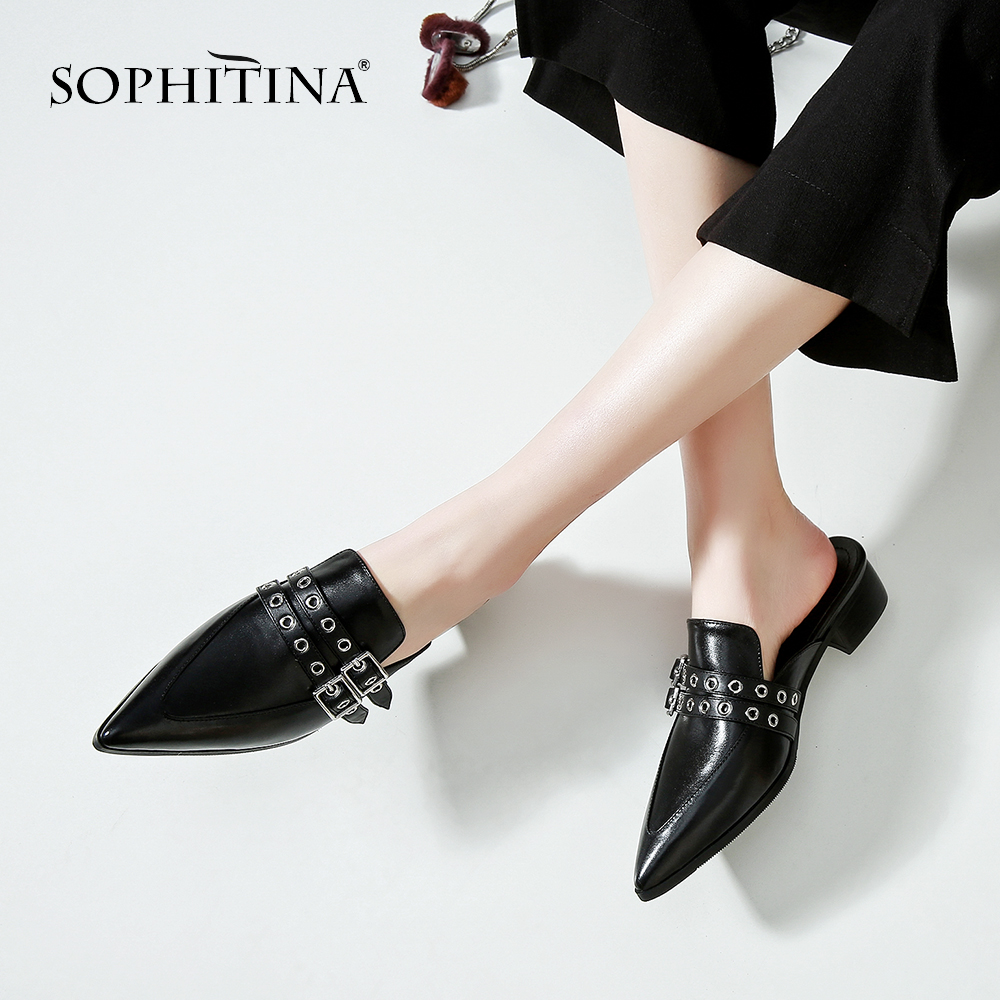 SOPHITINA Sexy Pointed Toe Flats Comfortable Mules Fashion Metal Decoration Casual Shoes Slip on New Explosion