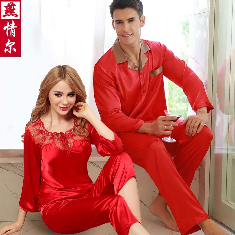 Couples Silk Sleepwear Lady Summer Pajamas Men's Sexy Silk Pajamas Boutique Silk Wedding Homewear Lovers Nightwear  D-2156