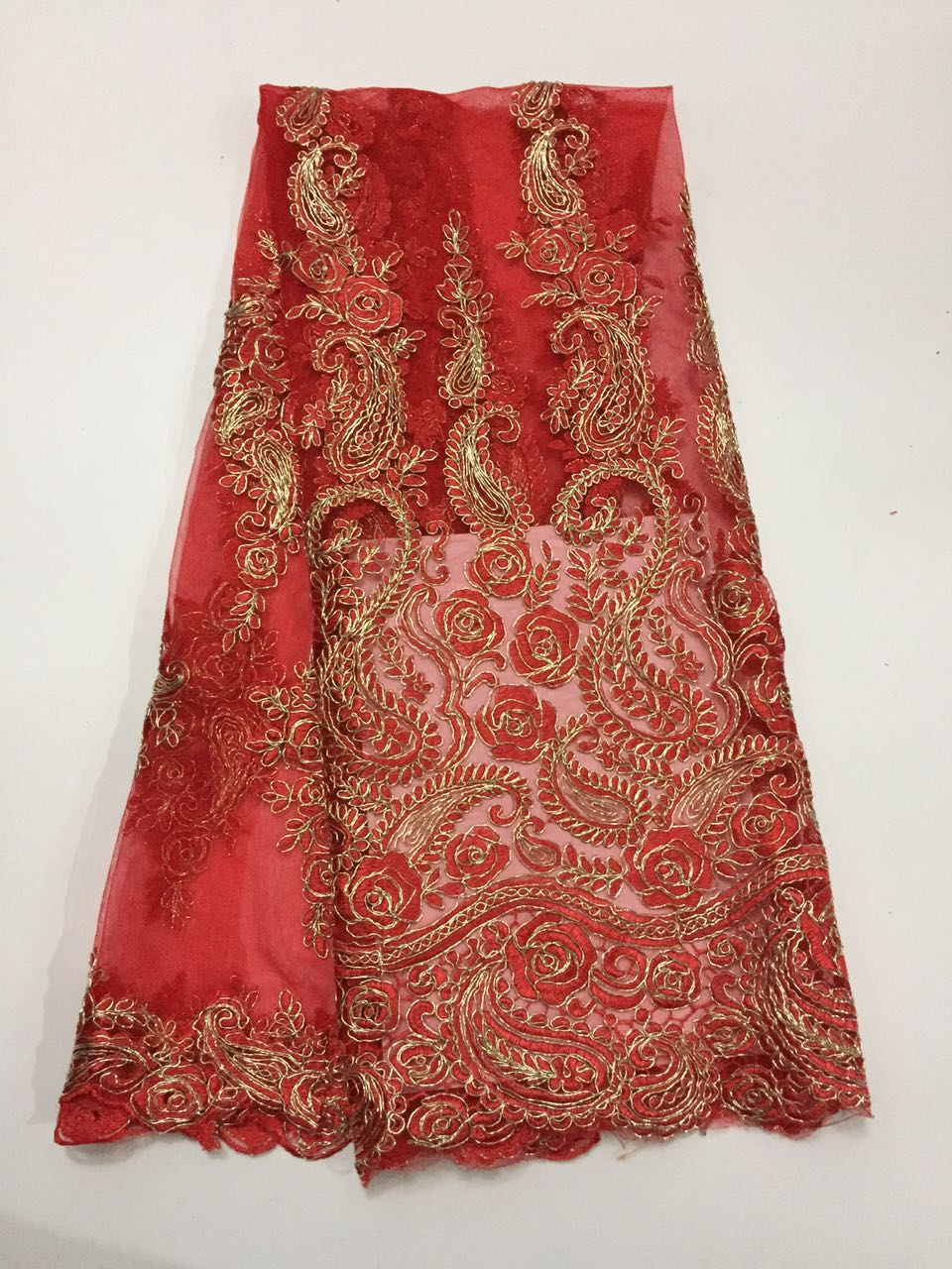 (QF905c-1)Gold thread design roses lace fabric/African Tulle Lace fabric wedding dress nigeria net - Guangzhou Cherry Fabric Company store