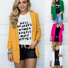 Womens Solid Open Front Cardigan Long Sleeve Blazer Casual Jacket Coat femme chaqueta femenina OL