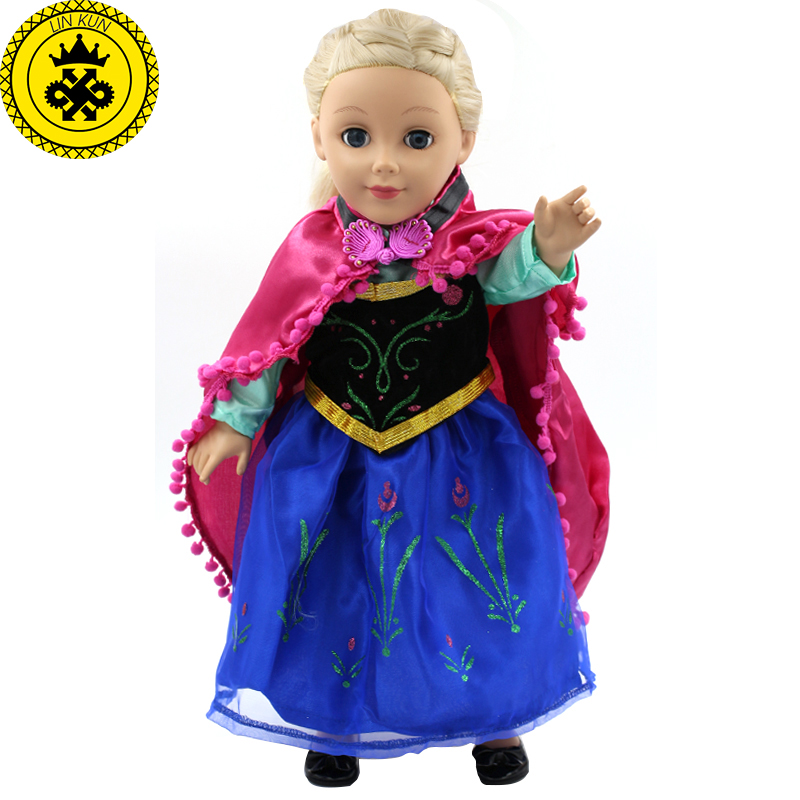 Handmad 18 inch American Girl Doll Clothes Princess Anna Elsa Dress Fits 18
