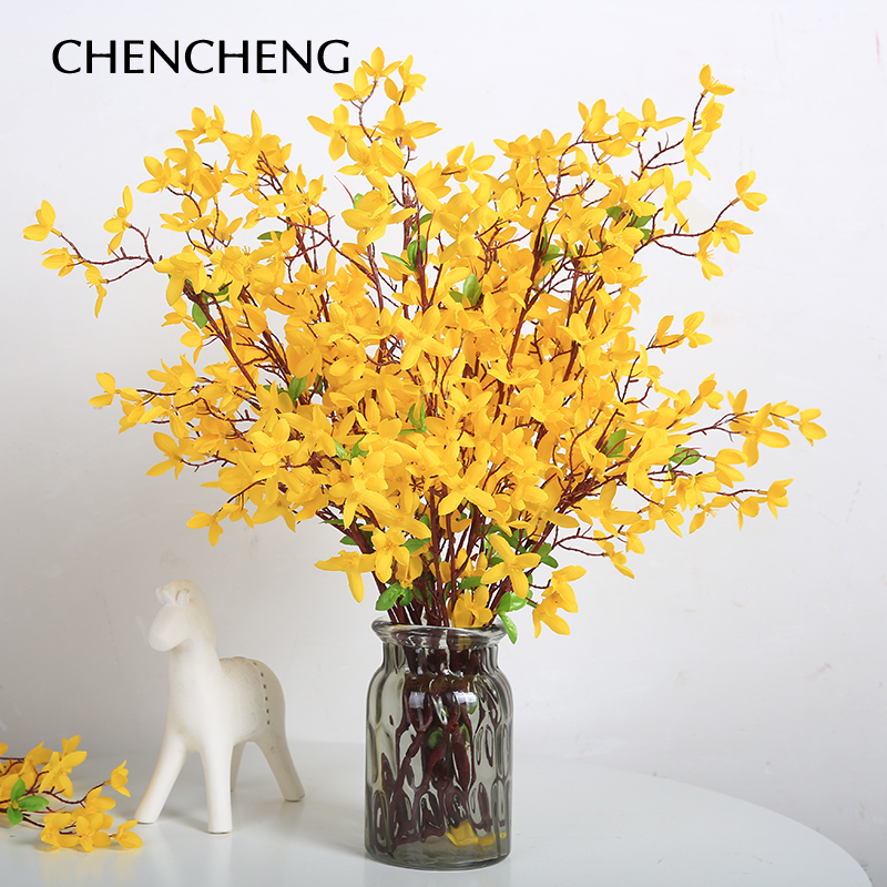 78 Cm Long Branches Yellow Artificial Flower Sprig Wedding Decoration Vase Large Flowers Spring In Dried From Home Garden On